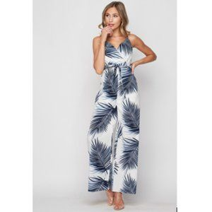 Jumpsuit - Tropical Leaves, Palazzo, Surplice Cami